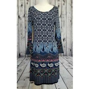 Millibon Blue Paisley Bell Sleeve Dress Size Small